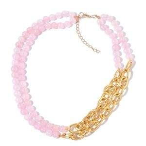 Jewelry - Galilea Rose Quartz Goldtone Double Strand Link